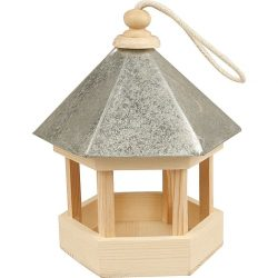 Bird Table with zinc roof, size 22 x 18 x 16.5 cm, pine, 1pc