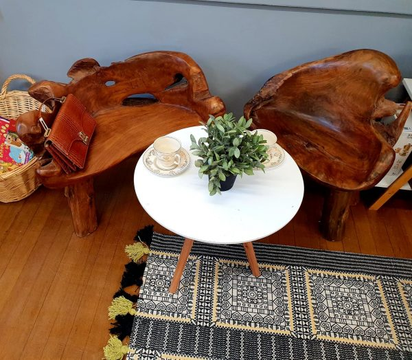 Teak root table and chairs