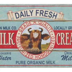 Large Wooden Wall Decor- Daily Fresh Milk and Cream